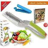 FabQuality cuchilla inteligente 2-en-1 cuchillo de cocina Clever CUTTER GRATIS INCLUIDO - COCINA Herramienta Cuchilla Slicer Dicer Picador de vegetales de cuchilla de repuesto