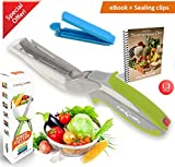 FabQuality Clever Cutter Knife Cutter 5-in-1 Kitchen Tool Slicer Dicer Vegetable Chopper Replacement Knife - Bonus food bag Sealing clips Included + Healthy eating eBook (English)