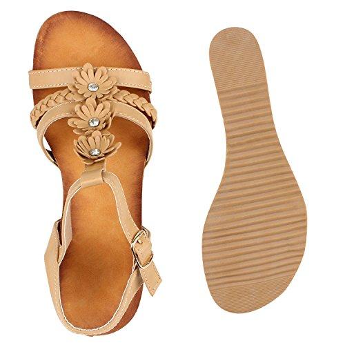 Damen Keilsandaletten Bast Sandaletten Holzoptik Absatz Wedges Hellbraun Blumen