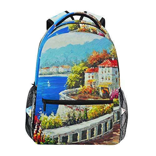 MONTOJ Seaside City Malerei-Reisetasche Campus Rucksack - Louis Vuitton City Bag