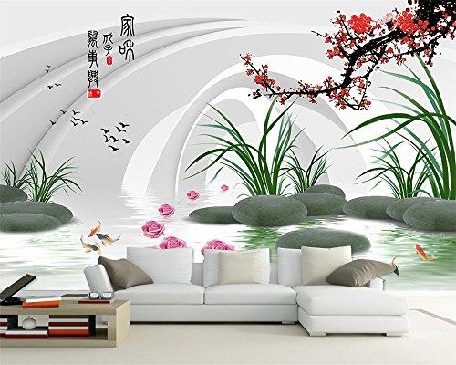 Pour Des Prunes (RQQAMI Papier Peint Décoratif Pour La Maison 3D Neuf Poissons Prune Tv Fond Salon Chambre À Coucher Murale Photo 3D)