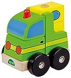 Lena 43203 - 3D Holzpuzzle Pick up, 6 Teile aus 100% FSC Holz, Pickup Auto bauen mit 5 Fahrzeug Puzzleteile und Unterteil mit Rädern, Stahlachsen und Stangen, 3D Puzzle für Kleinkinder ab 24 Monaten