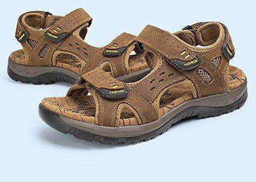 SK Studio Homme Sandales en Cuir de Marche Ajustable Grand Tailles Sandales Respirant Bout Ouvert Chaussures Marron Clair