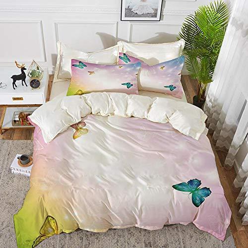 Bettwäsche-Set, Mikrofaser, Regenbogen, bunte Schmetterlinge mit Skizzen der Sterne Regenbogen farbigen Hintergrund drucken dekorative, weiße Mul,1 Bettbezug 220 x 240cm + 2 Kopfkissenbezug 80x80cm - Regenbogen-farbigen Sternen