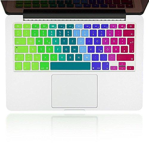 nica Folio de protección de silicona nibody Keyboard para la protección del teclado para APPLE MACBOOK AIR / PRO / PRO RETINA 13' & 15', Mac pegatina funda de protección, cubierta, Cover, película super fina y transparente, Color:Arco Iris
