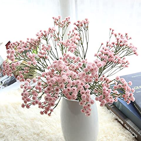 IGEMY Artificial Silk Fake Flowers Baby's Breath Floral Wedding Bouquet Party Decors (pink)