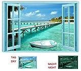 Startonight Impression sur Toile Fenêtre Paradis de l'eau, Art Encadré Imprimée Tableau Motif Moderne DécorationTendu sur Chassis Prêt à Accrocher 80 x 120 CM