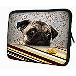 LUXBURG® 17,3 Zoll Notebooktasche Laptoptasche Tasche aus Neopren Schutzhülle Sleeve für Laptop / Notebook Computer - Mops und Plätzchen
