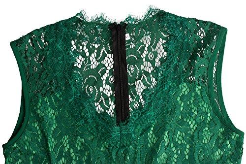U8Vision Damen Elegant V-Ausschnitt Langes Abendkleid Spitzen Brautjungfer Cocktailkleid Chiffon Faltenrock Kleid Gr.S-XXL Grün