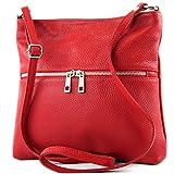 modamoda de - T144 - ital Umhänge-/Schultertasche aus Leder, Farbe:Rot