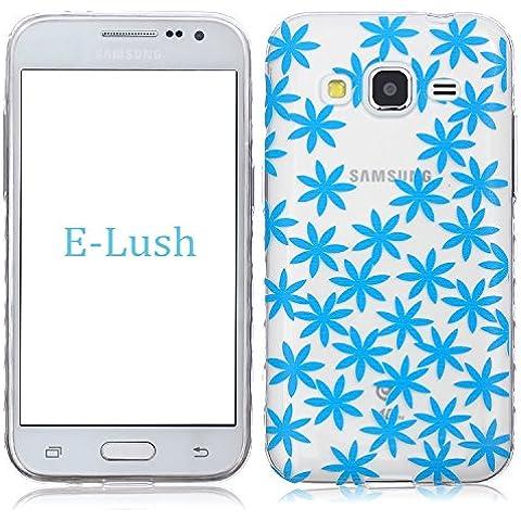 Samsung G360 Custodia, E-Lush TPU Silicone Transparente Gel Bumper Case Cover Ultra Sottile Ultra Slim Thin Morbida Flessibile Protettiva Shell Anti-Graffio Antiurto Corpeture Case per Samsung Galaxy Core Prime G360 (4,5 pollice) - Fiocco di neve