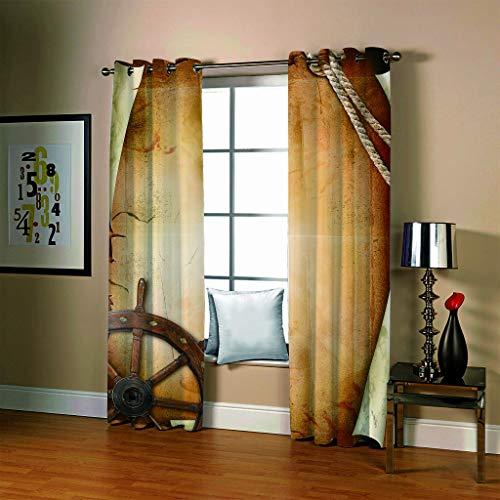Vorhang Polyester Ruder Muster Druck Wohnzimmer Dekoration Schattierung Isolierung Ohne Stange