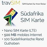 SIM Karte für Südafrika - Nano SIM + 500MB mobilem Internet Datenvolumen für 30 Tage + Guthaben- 100 ZAR südafrikanische Rand Guthaben