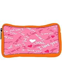 Snoogg Eco Friendly Canvas I Love You Pink Pattern 1 Designer Student Pen Pencil Case Coin Purse Pouch Cosmetic...