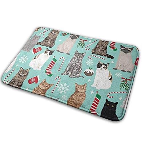 Deglogse Non Slip Backing Entry Way Doormat,Christmas Cat Candy Cane Stocking Bathroom Rug Mat Perfect Polyester Carpet Mats for Tub,Shower,and Bath Room