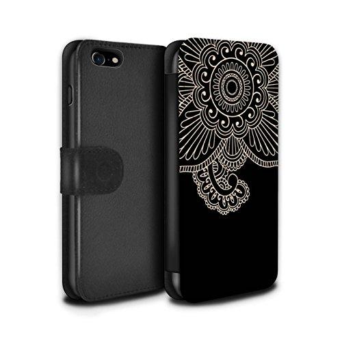 STUFF4 PU-Leder Hülle/Case/Tasche/Cover für Apple iPhone SE / Blume/Schwanz Muster / Henna Tätowierung Kollektion Blume