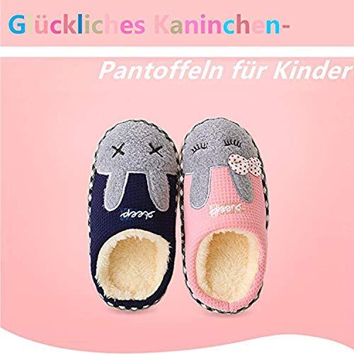 SITAILE Jungen Mädchen Winter Pantoffeln Slippers Schuhe mit Plüsch gefüttert Wärme Weiche Rutschfeste Hausschuhe Für Kinder Baby 01-rosa 24-25