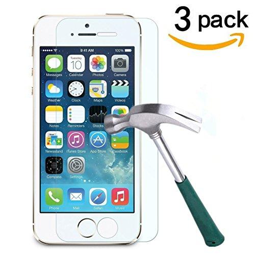 [3 Pack] Vetro Temperato Apple iPhone 5/5S , Cäsar-Glas Pellicola Protettiva in Vetro Temperato Screen Protector Film Ultra Resistente (0,33mm HD Alta trasparente)