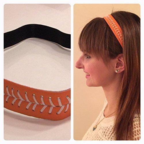 Fabulicious Orange White Stitch Leather Headband - Stitching Seam Sports softball baseball fast pitch by Fabulicious Headbands
