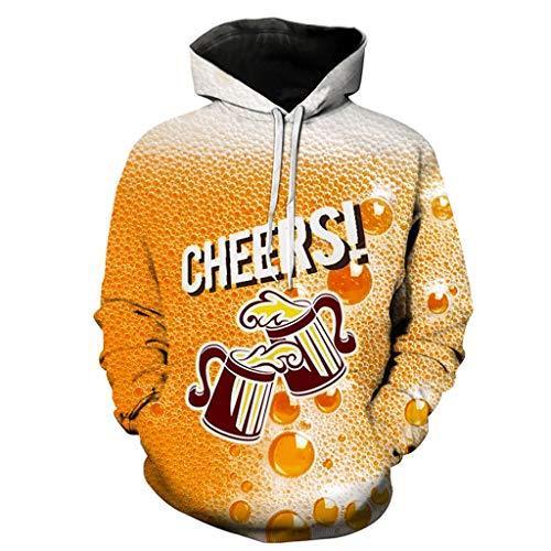 Amcool Unisex 3D Bier Druck Hoodie Kapuzenpullover Langarm Oversize Hoodie Pullover Hooded Sweatshirt Loose Fit Outwear Kapuzenjacke mit Großer Tasche -