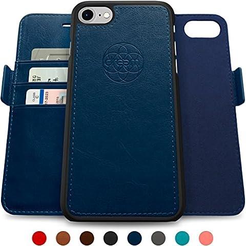 Coque + étui portefeuille magnétique Dreem Fibonacci pour iPhone 7, protection RFID, 2 positions possibles, en simili-cuir haut de gamme, dans un emballage cadeau - Bleu
