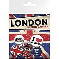 1art1® Set: Londres, Freak out, 4 X 25mm & 2 X 32mm Chapas Set De Chapas (15x10 cm) Y 1x Pegatina Sorpresa