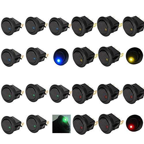 Mintice™ 20 X auto 12V 16A pulsanti interrutore a bilanciere rotonda luce blu rosso verde giallo LED acceso spento interruttore a levetta