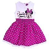 Disney Mädchen-Kleid Minnie Mouse in GRÖSSE 74, 80, 86, 92, 98, 104, 110, 116 gepunktet und zauberhaft gerüscht, Leichtes Sommer-Kleid ÄRMELLOS, ideal ALS Strand-Kleid oder Freizeit-Kleid Größe 128