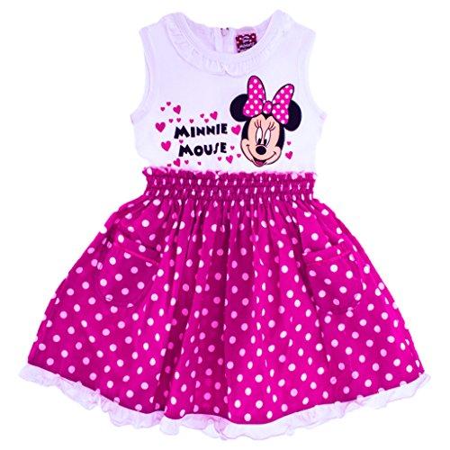 Mädchen-Kleid Disney Minnie Mouse in GRÖSSE 74, 80, 86, 92, 98, 104, 110, 116 gepunktet und zauberhaft gerüscht, leichtes SOMMER-KLEID ÄRMELLOS, ideal als Strand-Kleid oder Freizeit-Kleid Size 74 (Weibliche Mickey Mouse Kostüme)