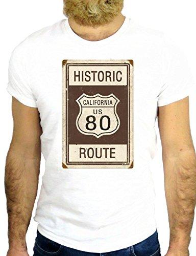 T SHIRT JODE Z2209 HISTORIC ROUTE 80 CALIFORNIA FUNNY NICE USA AMERICA FASHION GGG24 BIANCA - WHITE