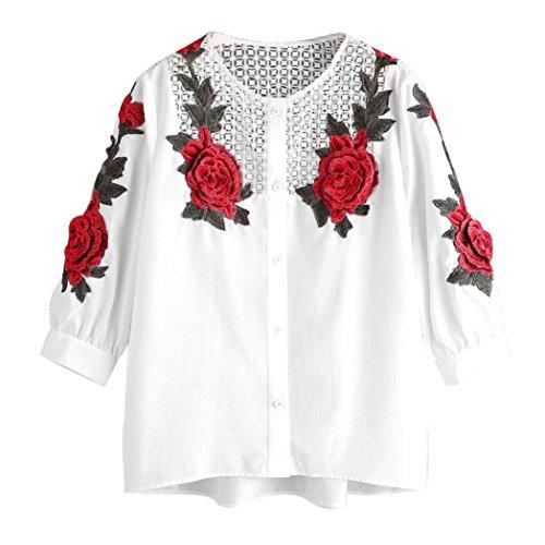 Koly maglietta a manica lunga in autunno delle donne felpata casual felpe con camicia ricamata donna camicia chiffon, camicetta con stampa floreale, bluse casual con maniche lunghe (xl, white)
