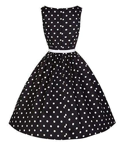 Wealsex 50s Retro Vintage Rockabilly kleid Damen Elegant ärmellos Sommerkleid Partykleider Schwarz