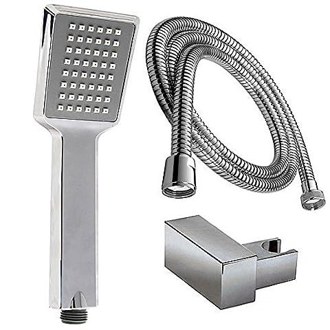 Shower Head Shower Head Shower Head and Hose 150cm + Holder Quadratic