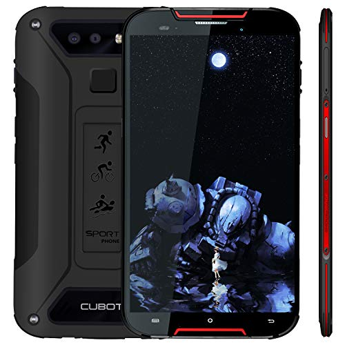 "Cubot Quest Lite (2019) Ultra Dünn Android 9.0 4G Dual Sim IP68 Wasserdicht Sport Outdoor Smartphone ohne Vertrag, 5\"" HD Display mit 3000 mAh Akku, 3GB Ram+32GB Rom, Duak Kamera 13M / 8MP, Schwarz+Rot"