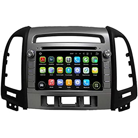 2 Din 7 pulgadas Coche Estéreo con GPS Navegación Android 5.1.1 Lollipop OS para Hyundai Santa Fe(2006 2007 2008 2009 2010 2011 2012),DAB+ radio Pantalla Táctil Capacitiva con 1.6G de la Cortex A9 Quad Core CPU 16G y 1G DDR3 RAM Flash 1024x600 Radio DVD 3G/WIFI OBD2 Aux Entrada USB/SD DVR
