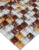 mosaico de azulejos de mosaico cristal blanco bronce marrón amarillo rojo oscuro tono 15x 15cm
