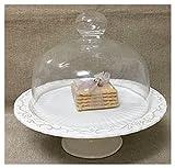 Etagere 23cm Keramik weiß verziert und Dome Deckel aus Glas-Kuchen Kuchen Backform Küche Shabby Chic