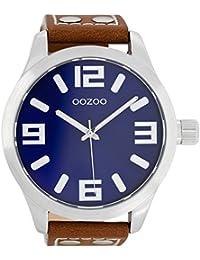 Reloj Oozoo extra grande C1015–carátula azul 51MM XXL–Correa de piel marrón