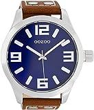 Oozoo Herrenuhr mit Lederband 51 MM Blau/Rotbraun C1015