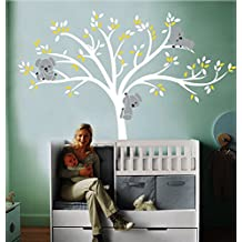 mafent grande blanco rbol de navidad con blanco y amarillo hojas tres lovely koalas vinilo pared