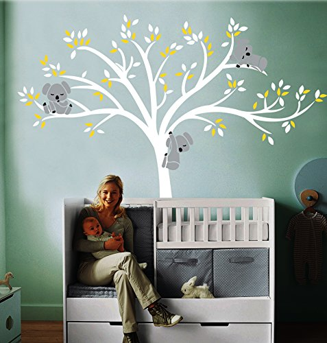MAFENT Large White Tree with White and Yellow Leaves Three Lovely Koalas Vinyl Wall Stickers for Children Baby Nursery Room Decoration