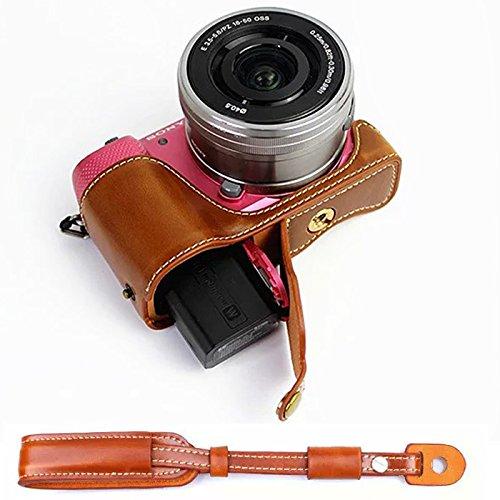 First2savvv XJD-A5100-D09S09 Gehäusehälfte präzise Passform PU-Leder Kameratasche Fall Tasche Cover für Sony a5100 . Alpha 5100 . ILCE-5100L .a500 mit Kameragurt A500 Fall