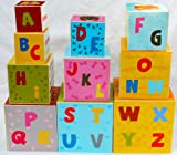 Enlarge toy image: Toys of Wood Oxford Stacking Boxes Cubes/ Number and Alphabet Blocks Stacking Cups