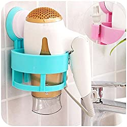 ShopAIS Bathroom Hair Dryer Holder Rack with Vacuum Suction Cup Wall Mount Round Hairdryer Stand Bathroom Organizer Accessories- Random Colour As Per Availability