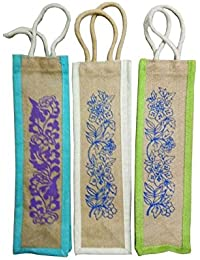 Pooja Bags Jute Bottle Carry Bag Set Of 3 PCs (Size: 15*5*5 Inches)