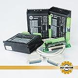 ACT Motor GmbH 3PCS DM542 Steuerung mit 1PC Breakout Board und Kabel 18-50VDC 4A 128 Microsteps für Schrittmotoren 3D Drucker Werkzeugmaschinen CNC Maschine Fräse Biegemaschine