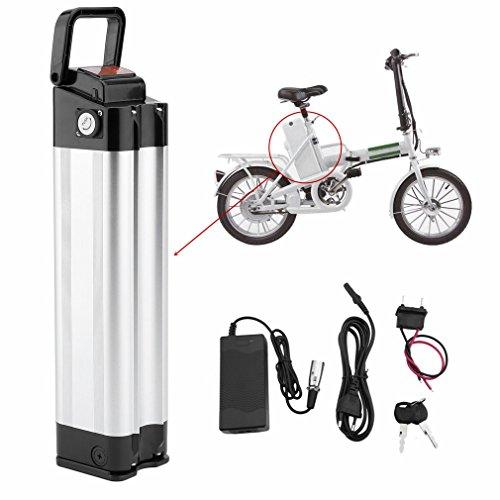 Dpower E-Bike, Pedelec, Bicicleta Eléctrica Batería Kit 36V 11Ah 396W Bicicleta portaequipajes Plug-It para Herramientas Incluye Cargador, Plata
