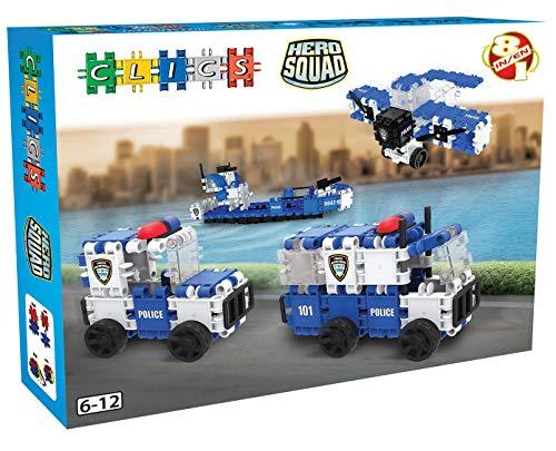 Clics BC006 BC006-Hero Squad Polizei Box 8 in 1 Construction Toys, Mehrfarbig