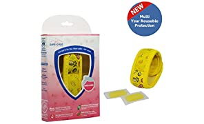 Safe-O-Kid Mosquito Repellent Band with 2 Refills and 6 Anti Mosquito Patches - Fruit Theme (Yellow)