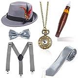 Beelittle 1920er Jahre Mens Gatsby Zubehör Set Trilby Manhattan Fedora Hut, Y-Rücken Hosenträger, Gangster Krawatten, Puff Zigarre, Vintage Taschenuhr (J)